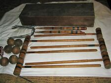 ANTIQUE USA PRIMITIVE COUNTRY PAINTING WOOD BALL POLE STICK CROQUET BOX TOY GAME