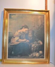 "Gold Tone Framed Painting of 2 Women Selling/Buying Fruit  27"" x 22""  No Glass"