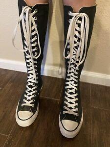 Converse All Stars Knee High Chuck Taylor Black Unisex Women's Size 6, Men's 8.