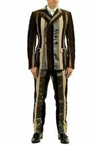 Dolce & Gabbana Men's Silk Striped Velour Three Piece Suit US 38 IT 48