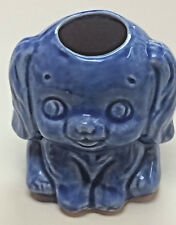 Vintage Blue Puppy Bud Vase Hand Painted Ceramic Dog Toothpick Holder Japan
