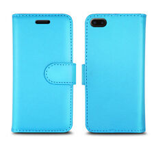 PLAIN COLOUR LEATHER WALLET BOOK PROTECT CASE COVER FOR APPLE iPHONE 4 5 6 7 SE