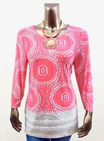 CHICO'S *NEW SIZE 2. (L) CARIBBEAN CORAL SPLIT V NECK 3/4 SLEEVES TUNIC TOP