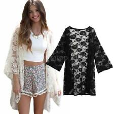 Plus Size Solid Kimono Cardigan Women Lace Crochet Beach Cover Up Bouse Top H8D0