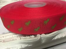 1 Metre Horse Print Polo Grosgrain Ribbon Designer 22mm Cakes Bow Dummy Hot Pink