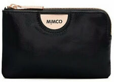 MIMCO Black Pouch Echo Patent Leather Wallet Bag Purse BNWT ROSE GOLD Hardware