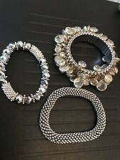 3 X Silver Coloured Stones Beautiful Jewelled Bracelets