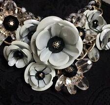 Bib Boho Tribal Drop Statement Gold White Flower Necklace Crystal Chain Wedding