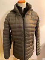 CALVIN KLEIN chracol gray removable hood Packable DOWN jacket women's S