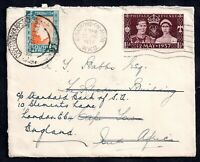 GB KGVI 1937 Cover to South Africa Returned Double Franking to UK WS14824