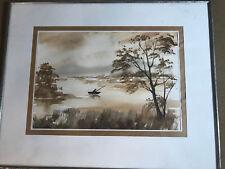 "Vintage Vilnius Lithuania ""Boat Fishing Scene"" Watercolor Painting - Framed"