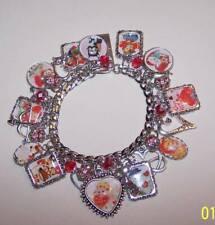 Retro Vintage Valentine's Day Theme Charm Bracelet Hand Crafted Glass Dome
