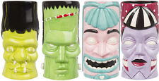 Sourpuss Tiki Zombie Frankenstein Monster Mugs Cups 4 Pack Retro Coffee Cup