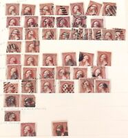 .JOB LOT 49 x 1883 WASHINGTON 2 Cent STAMPS SCOTTS #210 RED BROWN. NICE CANCELS.