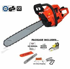 "HEAVY DUTY 20"" 58CC PETROL CHAINSAW SAW CUTTER & CHAIN & COVER 2.2KW TOOL KIT"