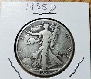 1935D Reverse Walking Liberty Half Dollar Nice F Graded Fairly