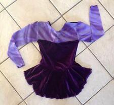 New Girls Purple Velvet Glittery Chiffon Competition Figure Ice Skating Dress