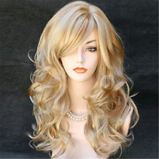 Long Curly Blonde Golden Lace Front Wig Layered Wavy Bangs Heat Resistant Safe