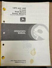John Deere 12pz Amp 14sz 21 Inch Walk Behind Rotary Mower Op Manual Omm95319 L0 Q6
