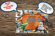 Personalised Childrens Birthday Party Invitations Star Wars Lego Movie x 8 cards
