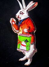 White Rabbit Ornament Christmas Handcrafted Lewis Carroll Alice Gift Bag Bunny