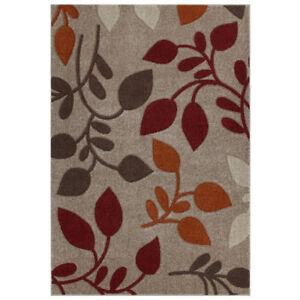 Floral BEIGE RUST BROWN Easycare Modern Contemporary Rug Runner S - Large 30%OFF