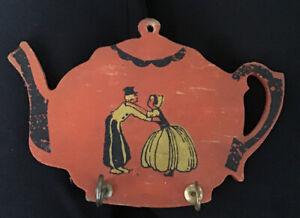 Vintage Wood Wall Key Hooks Cup Holder Tea Pot Teapot Kitchen