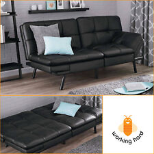 FAUX LEATHER SOFA SLEEPER Futon Couch Sectional Loveseat Bed Memory Foam Black