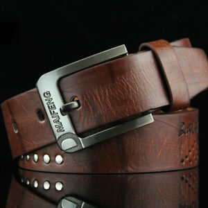 Classic Soft Mens Belt Genuine Leather Belts For Men Jeans Pants Waistband Brown