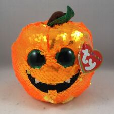 "2019 Halloween TY 6"" Flippables SEEDS the Pumpkin Beanie Boos Sequins Plush MWMT"