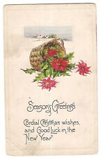 CORDIAL CHRISTMAS Good Luck NEW YEAR Poinsettia Basket Postcard Embossed 1918