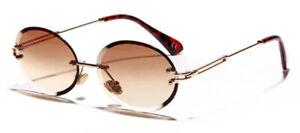 Mens Womens Retro Light-Weight Vintage Rimless Oval Diamond Cut Sunglasses