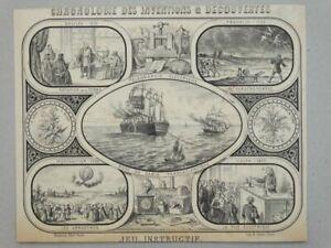 Inventions Decouvertes - Jannin Lithographie Erfindung Telefon Volt Galileo 1880