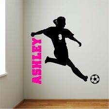 Personalized Girl Soccer Player Wall Decal Removable Wall Lettering