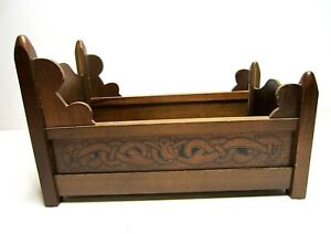 """Vintage Wood Four Poster Doll Bed 11"""""""