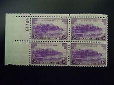 "1937 #801 3c La Fortaieza San Juan Plate Block MNH OG   ""Includes New Mount"""