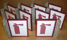 Lot of 10 New Right-Angle Fire Extinguisher Signs - Plexiglass & Aluminum