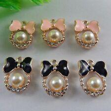 16X Misch Farbe Ton Legierung Mini Emaille Perlen Bogen Form Charm Schmuck 50967
