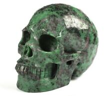 """5.1"""" RUBY ZOISITE Carved Crystal Skull, Realistic, Crystal Healing"""