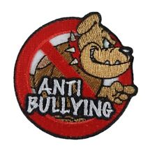 Anti Bullying Bulldog logo Iron On Patch Sew on Embroidered New - Stop Bullying