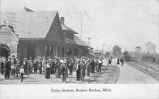 Union Station, Benton Harbor, Michigan Railroad Depot 1910 Vintage Postcard