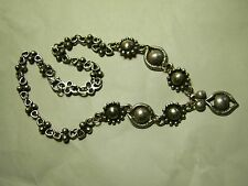 GENUINE ANTIQUE WHITE METAL FANCY CHAIN NECKLACE with  CENTRAL DROP