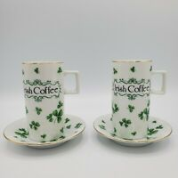 Set of 2 Vintage Lefton China Irish Coffee Tea Cup and Saucer Hand Painted NICE