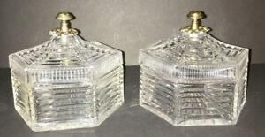 Pair Vintage Art Deco Glass Box Trinket Candy Dish Decorative Metal Top Nice