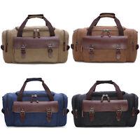 Men's Large Canvas Leather Duffle Bag Shoulder Travel Luggage Handbag Gym Tote