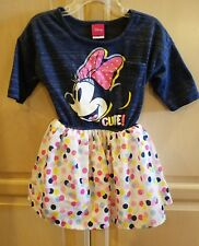 Disney Toddler Girls' Minnie Mouse Dress Blue w/multi-color polka dots 2T