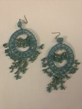 Handmade Boho Ethnic Turquoise Stones  Antique Chandelier Large Earrings