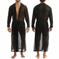 Chemise Longue Transparent pour Homme Manteau Haut Décontracté à Manches Longues