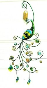 Peacock bell chime Teal metal w/ glass insert & shards patio decor
