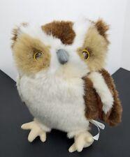 """Smithsonian's Back Yard full size 9"""" Plush Owl brown tan white soundprints 1998"""